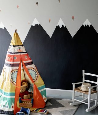 A cheerful playroom featuring chalkboard mountains and ice cream decals for this supremely miserable morning in Dublin. 🌧🌧 What's it like where you are? Pic by @ruthmariaphotos. #designintheeveryday #ahappyhome #adesignledworld