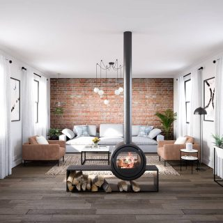 New day, new room template! This is our first room in an industrial style featuring a statement stove as a centre piece. Check out our IGTV for a 360 tour. And click the link in bio to see our new design process. ❤ #ahappyhome #designintheeveryday #adesignledworld